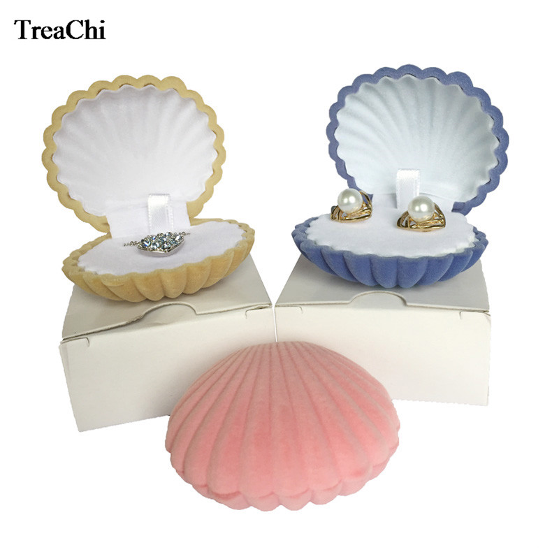 Fashion Shell Shape Velvet Engagement Wedding Party Ring Case Cute Earrings Necklace Pendant Jewelry Display Storage Gift Box