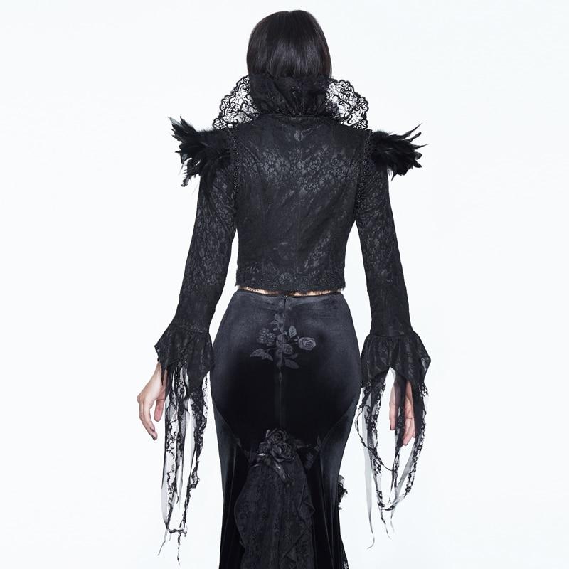 Et Col Black Stand Noir D'épaule Dames Courte Plis Manteau Nouveau De Plume Veste Gothique D'hiver Dentelle Automne Cour Partie 7HfwpUqE