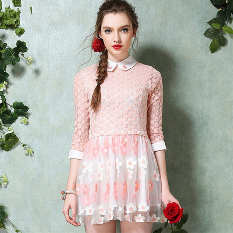 women lace pink dress flower embroidery 2015 office ladies spring ...