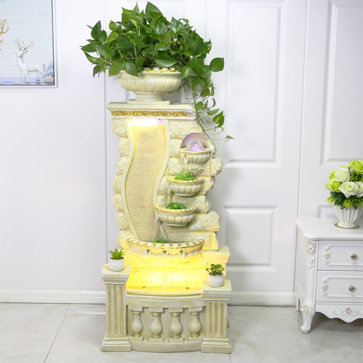 Large European style Floor Water Fountain Fish Pond Decoration Home Decoration Ornaments Gifts European Flower Pot Fish Tank