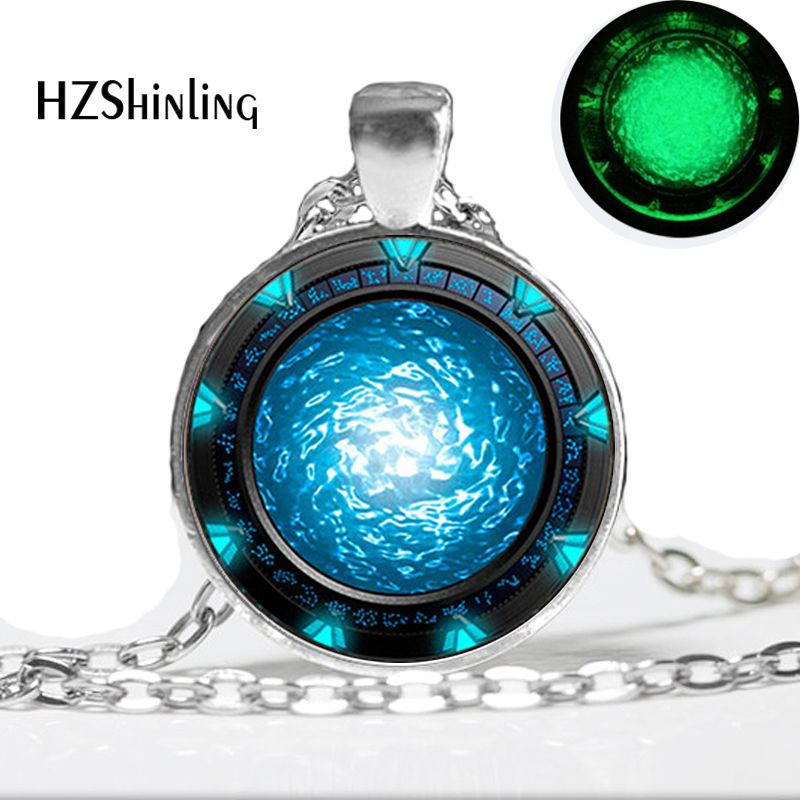 Glow in the dark Halskette Anhänger, Stargate Portal Atlantis Halskette Art Photo Glass Glowing Jewelry Leuchtende Halskette