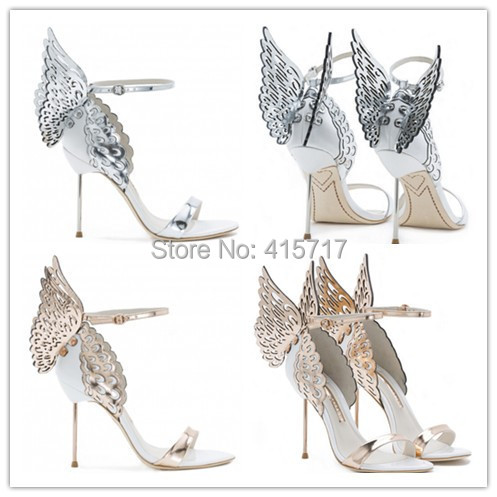 058f0f47e9c6b5 2015 Unique Design Angel Wing Sandals Women Wedding Pumps Gold Silver  Strappy Sandals Sweet High Heels Shoes Drop Shipping