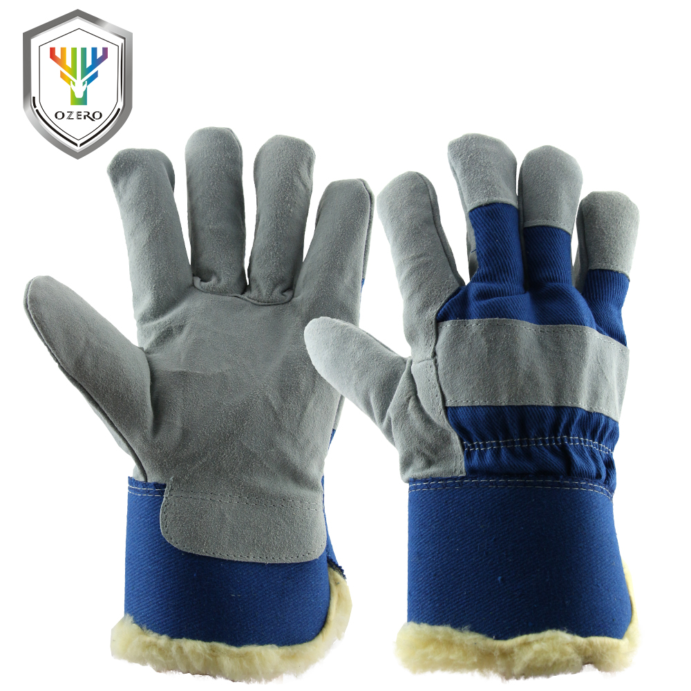 Leather work gloves china - Ozero Men Work Gloves Cowhide Leather Driver Security Protection Safety Workers Working Welding 30 Warm