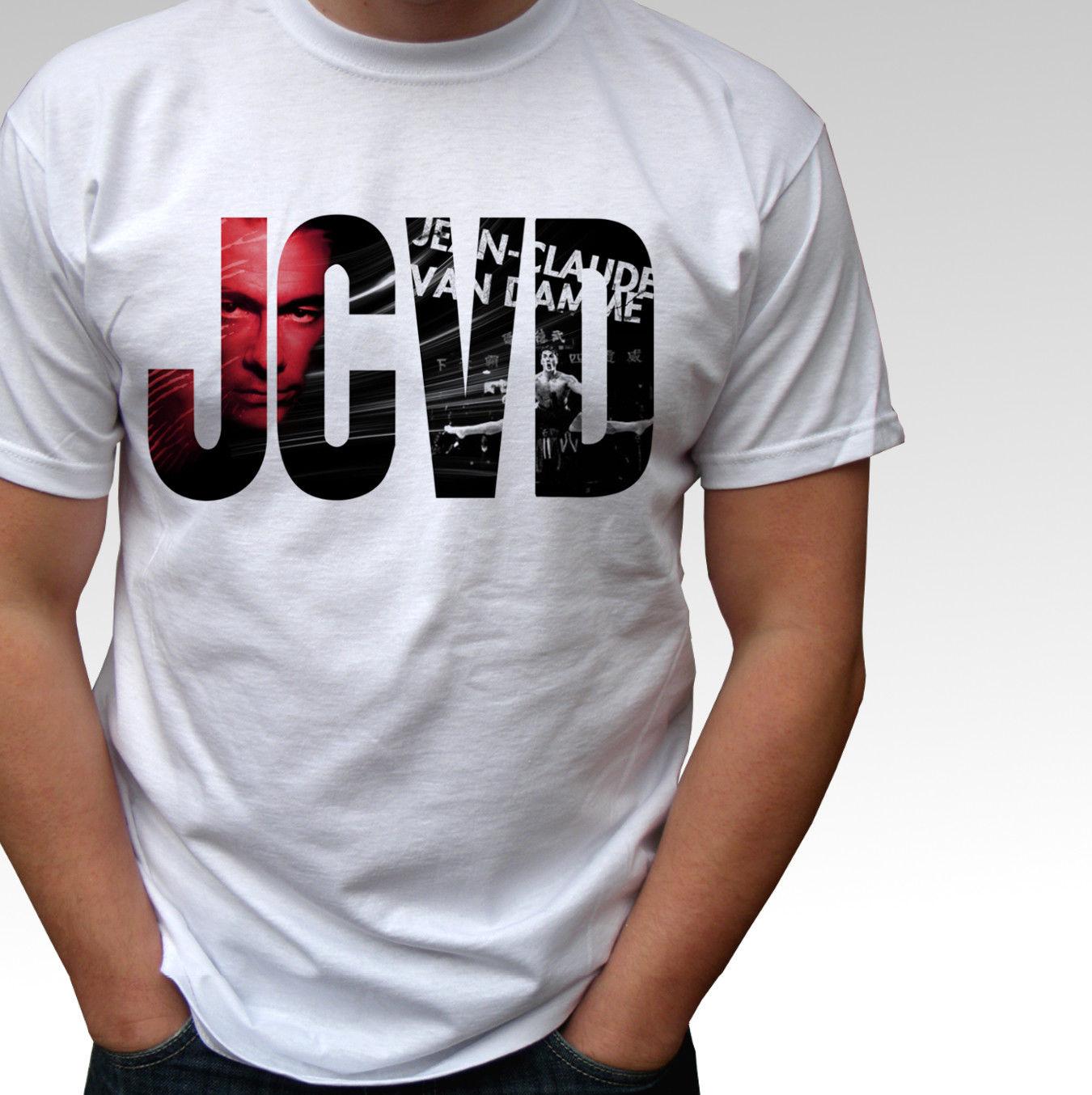 JCVD logo Jean Claude Van Damme white t shirt top - mens and kids sizes Men 2018 Summer Round Neck MenS T Shirt