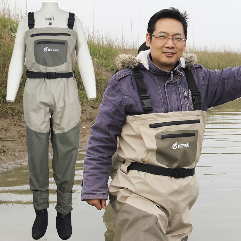 Waterproof Chest Fishing Waders , Breathable Rafting Waders with Stocking Foot , Hunting Pants for Men