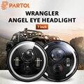 Partol 1 шт. 7 светодио дный светодиодные фары угол глаза DRL автомобиля светодио дный Светодиодные фары 12 В в для Jeep Wrangler Land Rover Defender 4x4 off-road