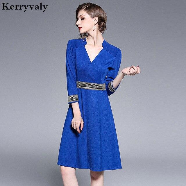 a0f8d93ae9e387 Spring blue office formal dress women elegant neck embroidered vestidos  invierno dames jurken robe moulante jpg