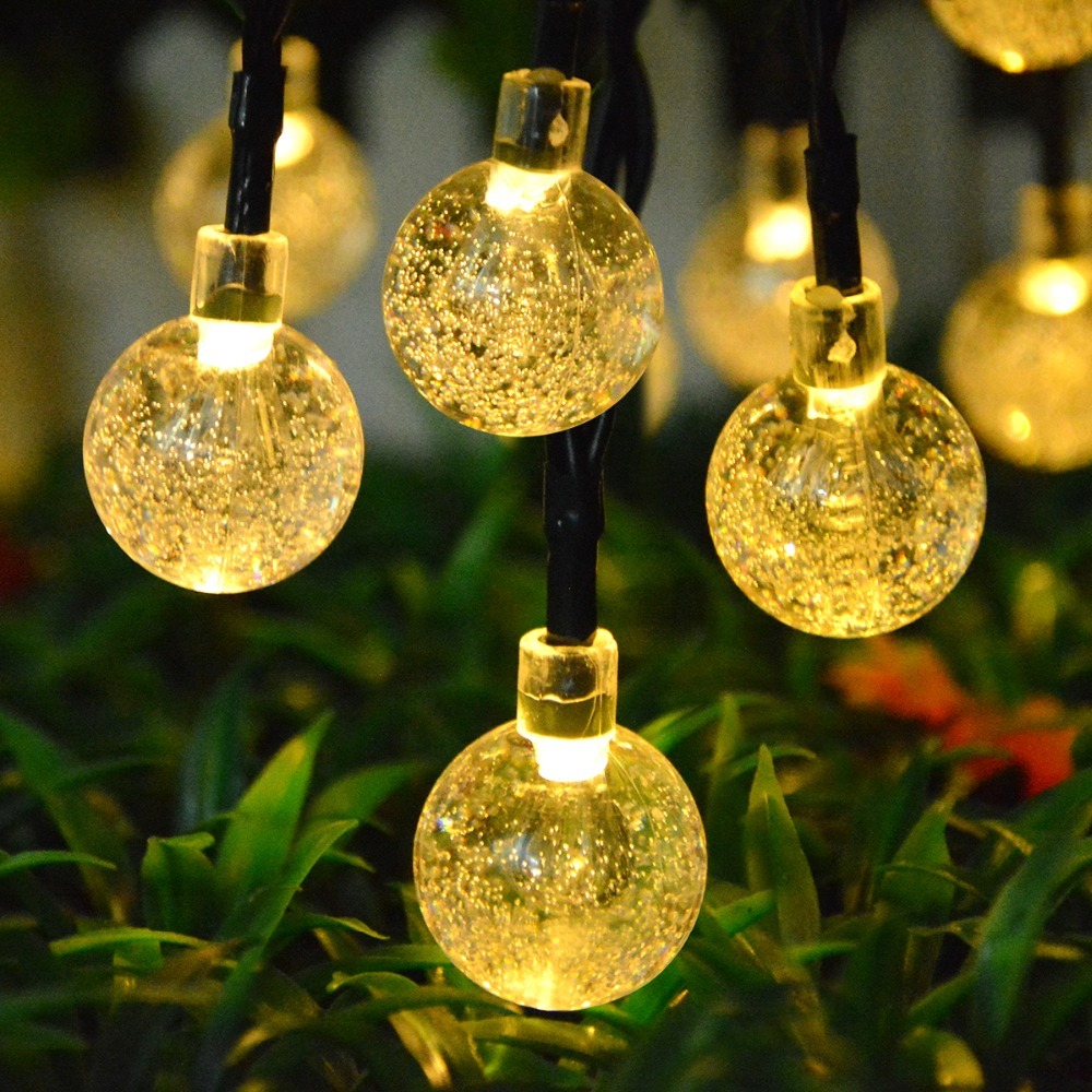 Crystall Ball Solar LED String Fairy 6 mt 30 LED Solar licht Outdoor Garten Terrasse Dekoration Rasen lampe Für Hochzeit party Weihnachten