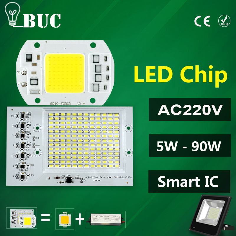 LED COB Bulb Lamp 5W 10W 20W 30W 50W LED Chip 220V Input IP65 Smart IC Fit For DIY LED Flood Light Cold White Warm White led cob chip 5w 20w 30w 50w 220v input