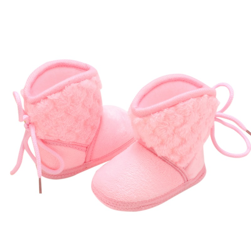 Newborn Baby Boots Winter Warm Solid Color Plus Velvet Tie Flowers New Baby Girl Boots 0-18M