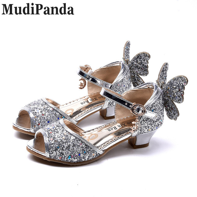 f57be67971 MudiPanda Girls Sandals Princess Shoes Children High Heels Shoes Wedge  Butterfly Glitter Kids Shoe Party Dance