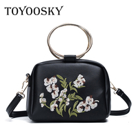 TOYOOSKY Round Lady Totes 2017 New Europe Fashion Flap Bag Embroidery Big Ring Handle Small Handbag