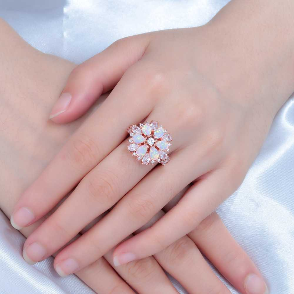 CiNily роскошный большой Розовый огненный опал кольца с камнем розовое золото цвет прозрачный кристалл цветок флора вишня цветок ювелирные изделия женщина девушка