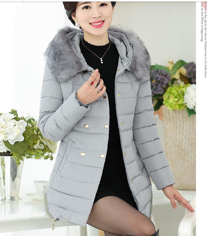 Anziani Il Grande Nero Di Nuove E Coreano Inverno Collare grigio Mezza rosso Età Vestiti blu Imbottito Ingrandire Donne Ispessimento Stile Lunghezza verde Capelli Medio Cotone xq8nzqw5HR