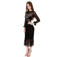 Новые стильные пикантные осенние платье Черный с длинным рукавом Sheer сетки лоскутное платье миди с бантом интернет-магазины Индии WB009042