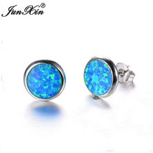 JUNXIN Fashion Female Small Round Stud Earrings Blue/White Fire Opal Earrings For Women 925 Sterling Silver Filled Jewelry(China)