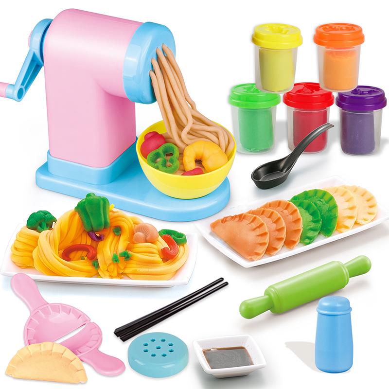 Arcilla modelo tallarines fabricante barro máquina DIY arcilla profesional Slime Playdough espagueti alimentos arcilla Color Role Play House Toy