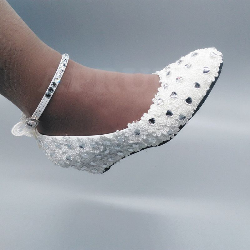 5CM wedges heel ankle buckle straps wedding shoes bride butterfly lace crystal silver rhinestones bridal bridesmaid