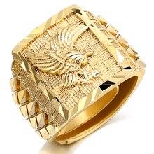 Anillo de lujo para hombre Punk Rock Eagle Color dorado resistente a los dedos 7-11