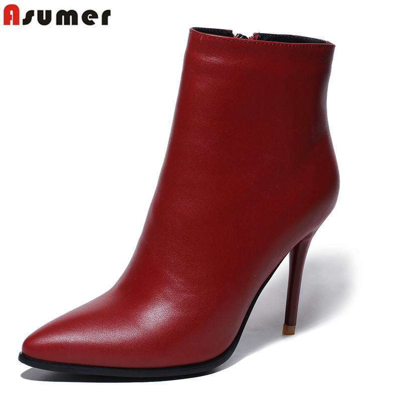 Asumer New genuine leather boots high quality pointed toe high heels fashion ankle boots for women shoes autumn winter botasAsumer New genuine leather boots high quality pointed toe high heels fashion ankle boots for women shoes autumn winter botas