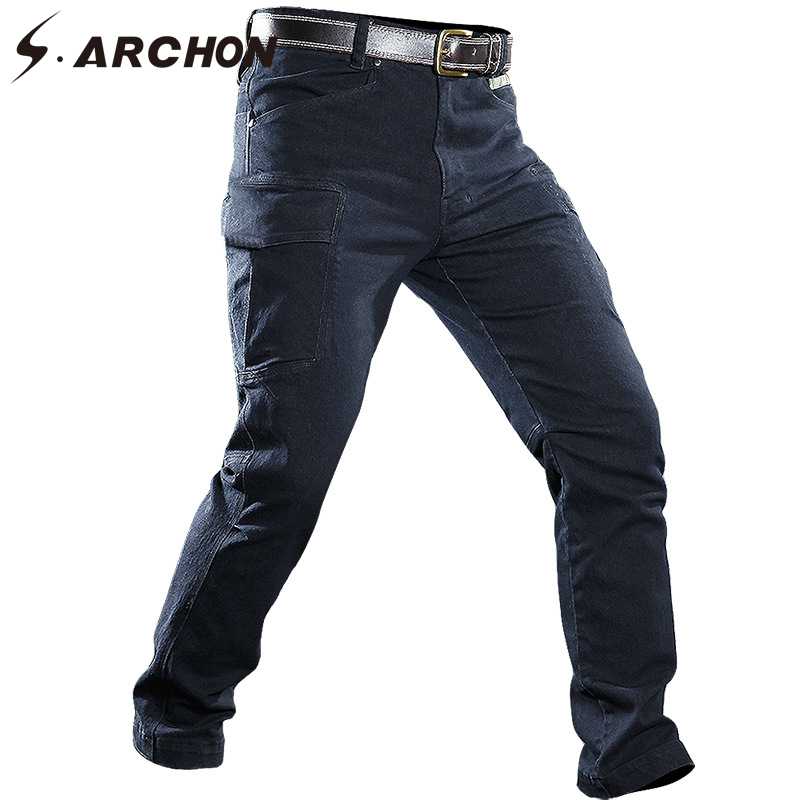 Mens Windproof Military Denim Jean Pants Men Multi Pockets Breathable Tactical Cargo Jean Male Casual Army Motorcycle Jeans
