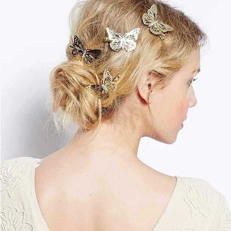 Pinzas Para el pelo de mariposa Para niñas horquillas doradas ahuecadas elegantes Accesorios Retro Para Mujer 6C2682