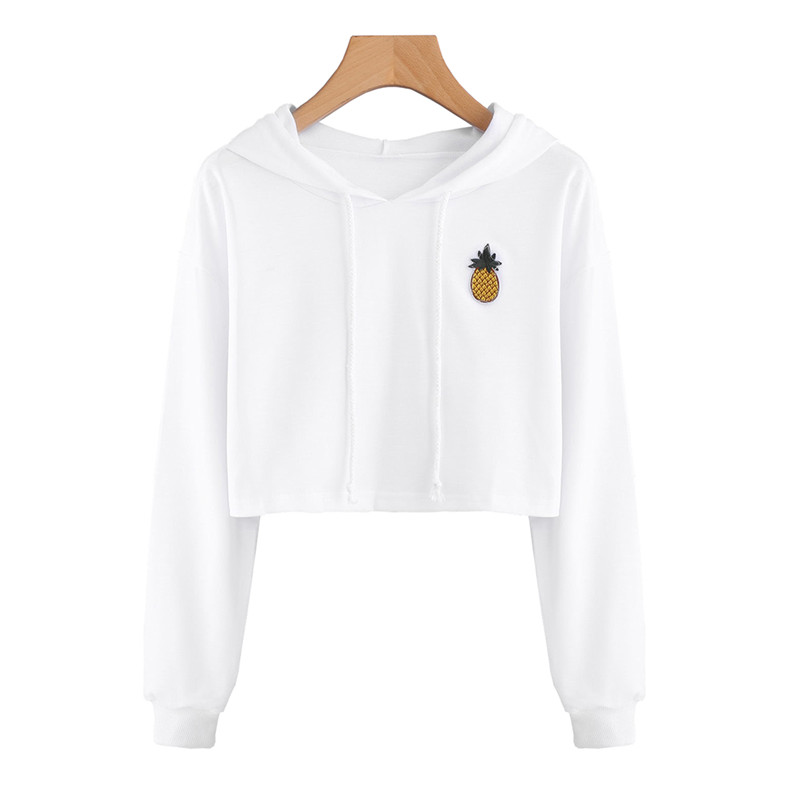 Sleeve Sweatshirt Tops Pineapple Long Pullovers Printed Sexy Cute Short Casual Hoodies For White Women wXSHCqn