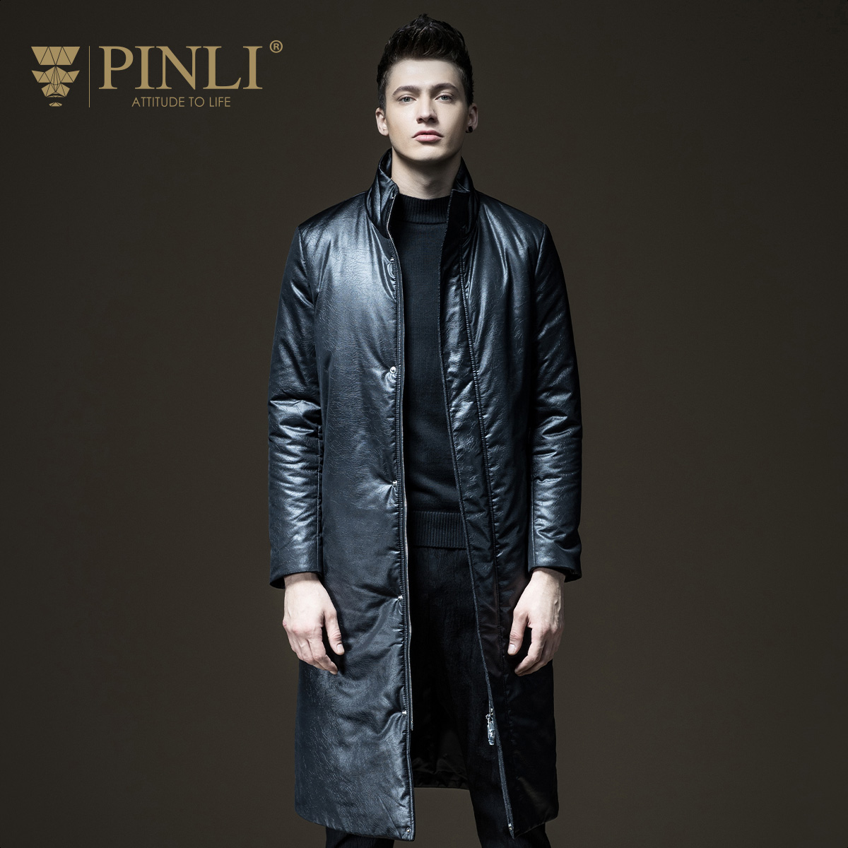 PINLI pinly fall 2017 NEW MENS in the long coat collar male clothes coat B173505304 cartelo brand 2016 winter clothes the new water mink collar coat male in the long section warm coat for man