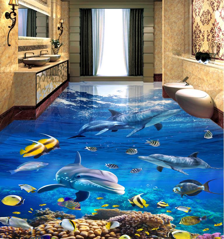 tile flooring bathroom photo wallpaper custom self adhesive wallpaper vinyl flooring Sea World Dolphin 3d floors for living room free shipping flooring custom living room self adhesive photo wallpaper wonderland lotus pool 3d floor thickened painting flower