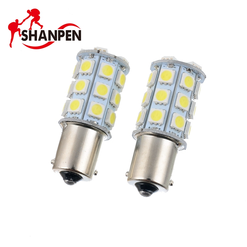 2pcs LED Car Bulb 1156 Ba15s P21W 27SMD 27 SMD 5050 Backup Turn Signal Tail Light 12V-24V 10x car 9 smd led 1156 ba15s 12v bulb lamp truck car moto tail turn signal light white red blue yellow ba15s 1156 aa