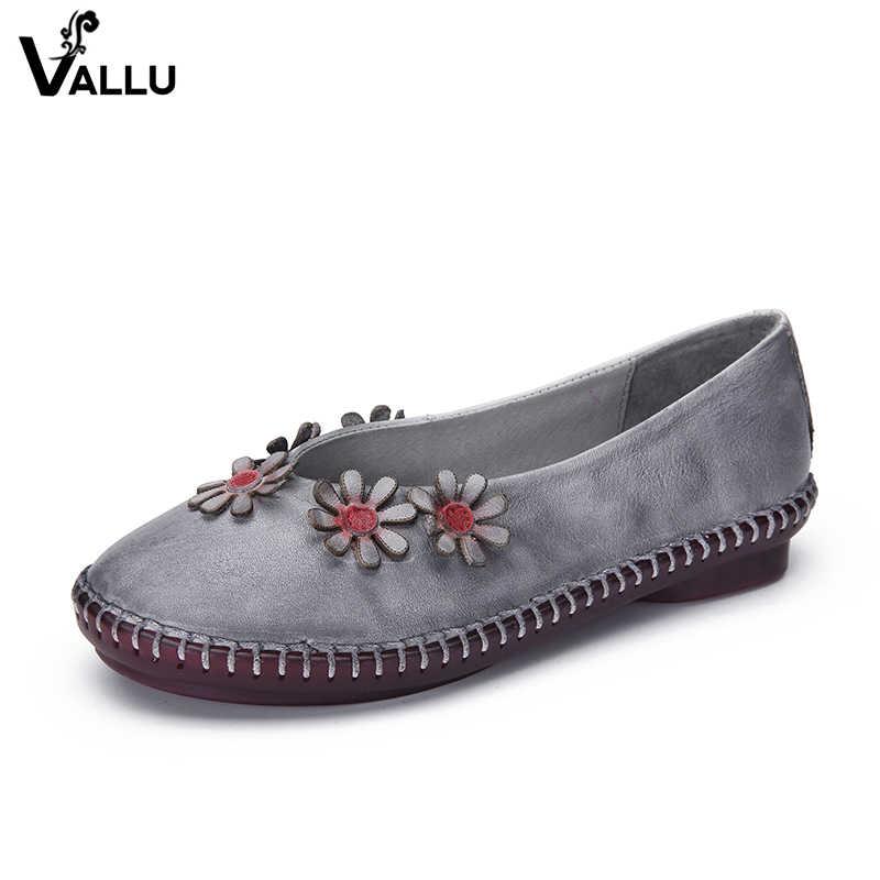 2018 VALLU cuero genuino mujeres pisos punta redonda hecho a mano flor Vintage mocasines Retro mujer otoño zapatos mocasines