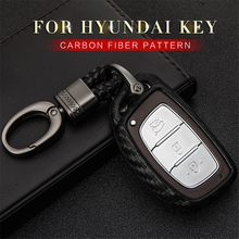 Carbon Fiber Car Key Case Cover For Hyundai Veloster Kona Solaris Santa fe Tucson Elantra I10 I30 Creta ix25 2017 2018 2019 Key