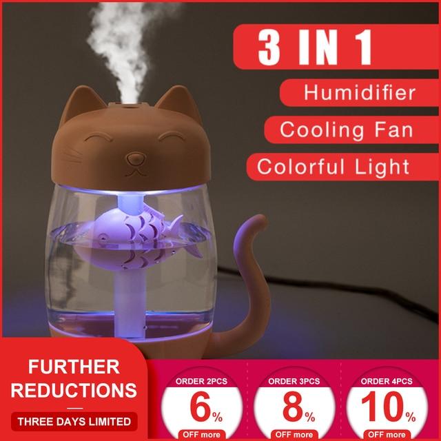 3 in 1 350 ML USB Katze Luftbefeuchter Ultraschall Cool-Nebel Entzückende Mini Luftbefeuchter Mit LED Licht Mini USB Fan für Home office