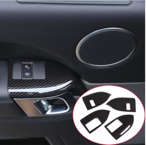 Fibre de carbone Style pour Landrover Range Rover Sport RR Sport 2014-2017 ABS plastique enfant serrure cadre couvercle garniture 4 pièces/ensemble