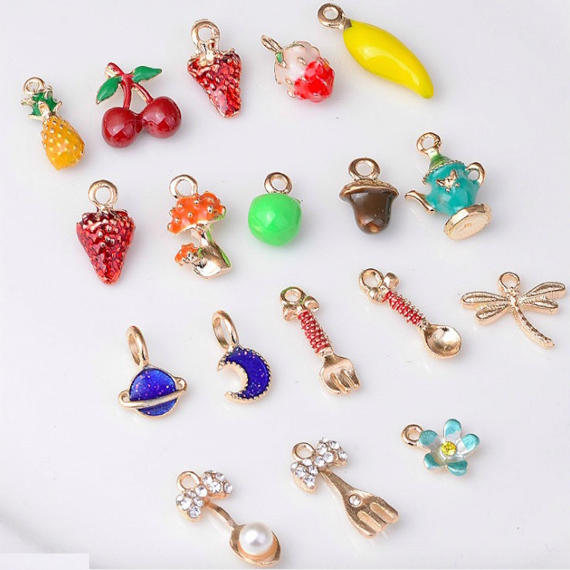 10pcs/lot colorful mango watermelon fruits pineapple pendant alloy enamel Charm DIY accessories of necklace bracelet headdress