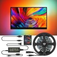 5V WS2812B USB LED ストリップライト 5050 Rgb 夢色アンビライトキット hdtv 用デスクトップ Pc 画面の背景照明 1 メートル 2 メートル 3 メートル 4 メートル 5 メートル