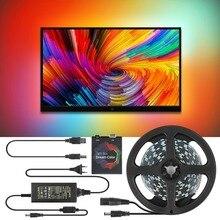 5V WS2812B USB Светодиодные ленты светильник 5050 RGB Мечта Цвет окружающей среды набор для телевизора для настольных ПК Экран фон светильник ing м, 1 м, 2 м, 3 м, 4 м, 5 м