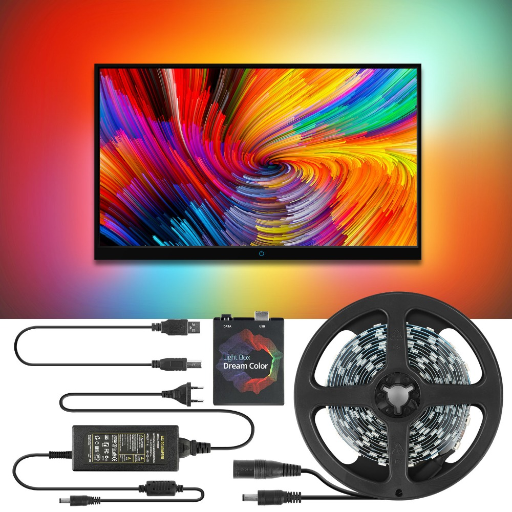 5V WS2812B USB LED Strip light 5050 RGB Dream Color Ambient TV Kit for Desktop PC Screen Background lighting 1M 2M 3M 4M 5M