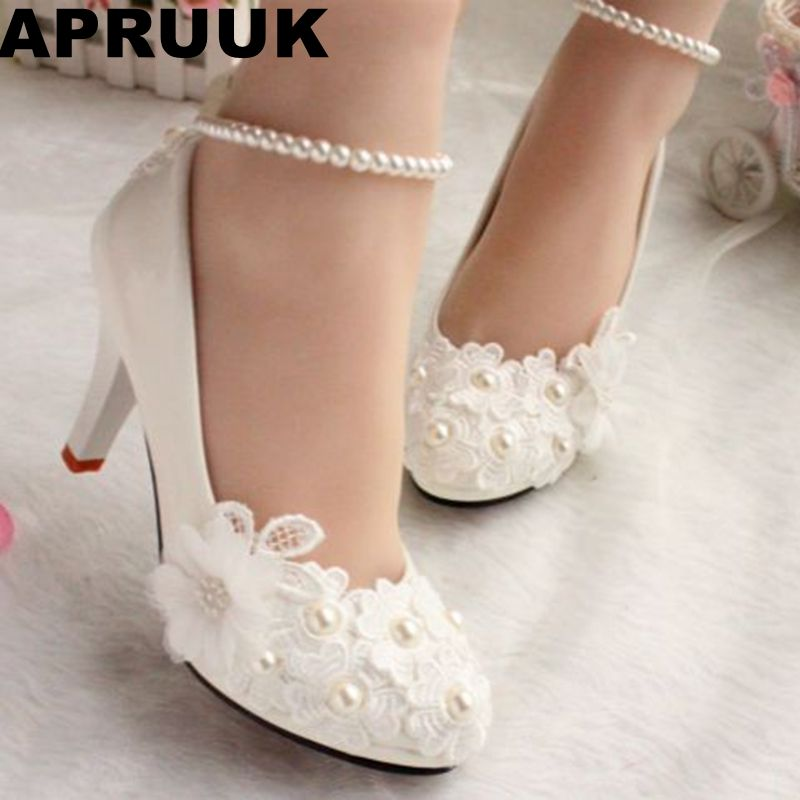 Wedding Shoes For Women New Design Ivory Lace Low High