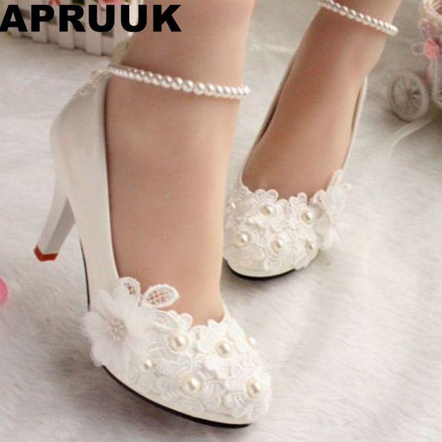 zapatos de boda para mujeres nuevo diseño de encaje de marfil