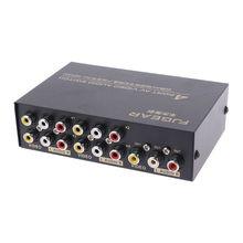4 порта вход 1 Выход Аудио Видео AV RCA Переключатель Селектор коробка