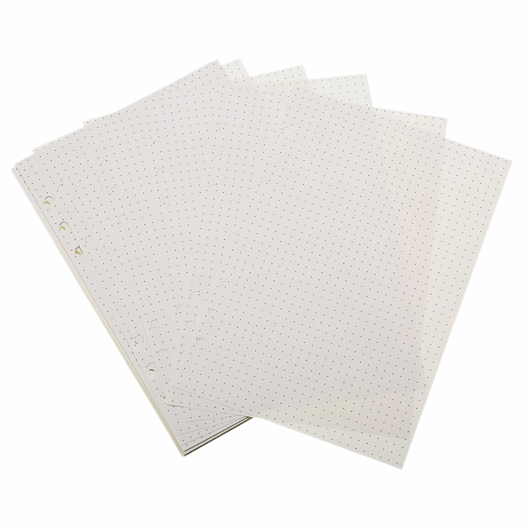 90 Pages A5 Notebook 6 Holes Refill Dot Grid Notebook Diary & Bullet Journal Refills Inserts for A5 Loose Leaf Notebook