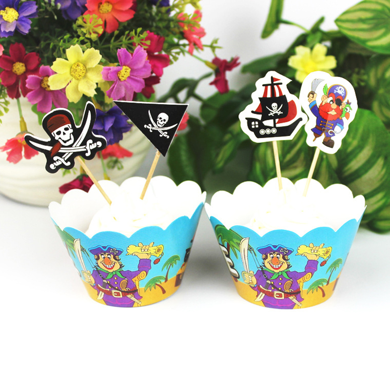 Cartoon Pirate Cupcake Wrappers Toppers Birthday Party Cake Decorations Baby Shower Supplies Favors 12 Wrappers +12 Toppers