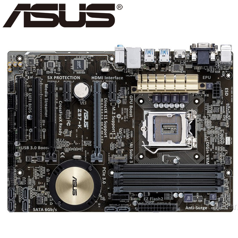 ASUS Z97-K original motherboard LGA 1150 DDR3 i7 i5 i3 CPU 32G SATA3 USB2.0 UBS3.0 Z97 desktop motherboard Free shipping for asus z97 k original new desktop motherboard for intel z97 socket lga 1150 for i7 i5 i3 ddr3 32g sata3 usb3 0 atx