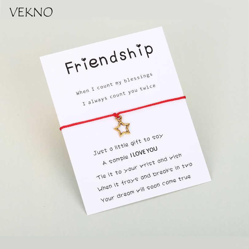 VEKNO 10 цветов, браслет Lucky Star, античное золото, Регулируемая Веревка, шарм, красная веревка, браслет, дружба, ювелирные изделия, подарки для мам и женщин