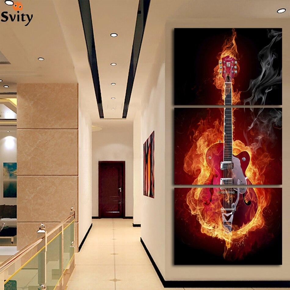 Artă muzicală 3 Panou Pictura pe perete Decoruri casnice moderne - Decoratiune interioara