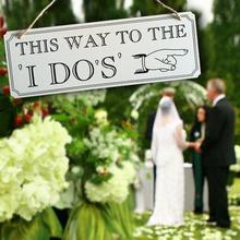 """Wooden """"This Way To The I Do"""" Wedding Sign Board"""