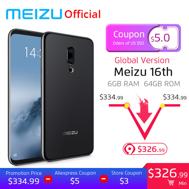 Meizu 16th 6GB 64GB Global Version Mobile Phone Snapdragon 845 Octa Core 16 th Smart Phone Front 20MP In-Screen Fingerprint