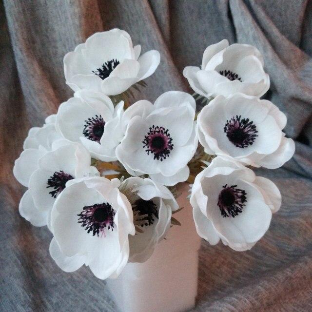 Real Touch Blanc Anémones Fleurs PU Artificielle Anémones Fleurs ...