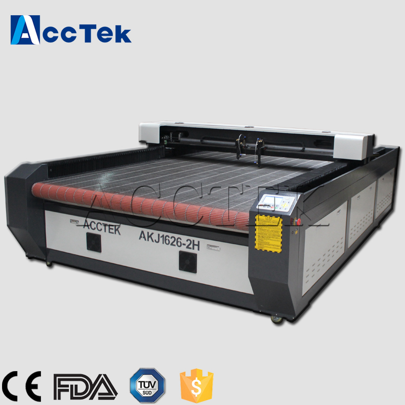 Auto feeding table 1626 double heads 60W 80W co2 laser cutting machine price, co2 fabric laser cutting machine